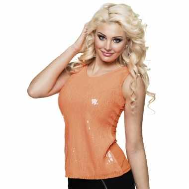 Disco verkleedkleding pailletten shirt oranje