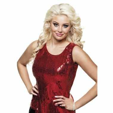 Disco verkleedkleding pailletten shirt rood