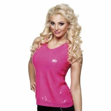 Disco verkleedkleding pailletten shirt roze