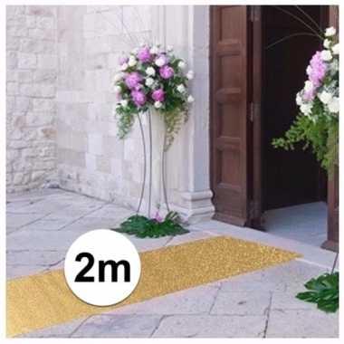 Discothema gouden glitter loper 2m lang bij 1m breed