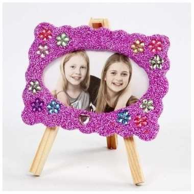 Diy fotolijstje knutselen met paarse klei