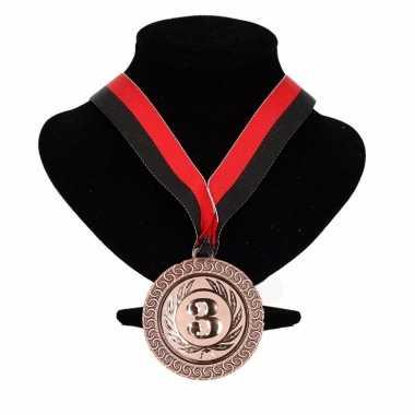 Excelsior kleuren medaille nr. 3 lint rood en zwart