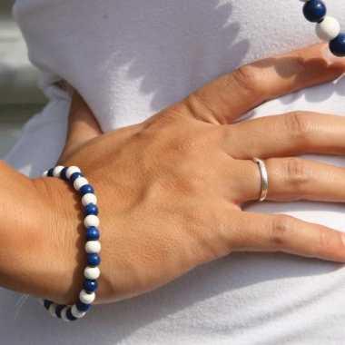 Fan armband blauw met wit