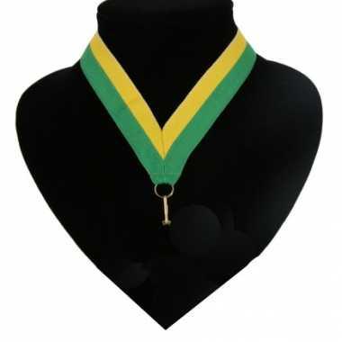 Fan medaille lint groen en geel