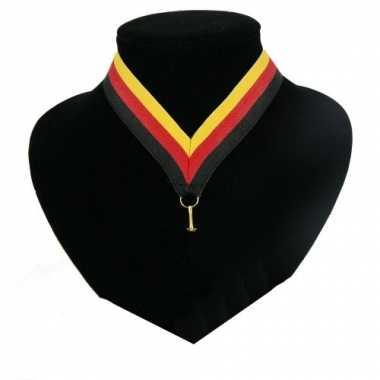 Fan medaille lint zwart, rood en geel