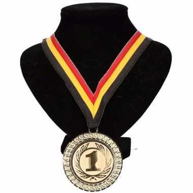 Fan medaille nr. 1 lint geel/rood/zwart