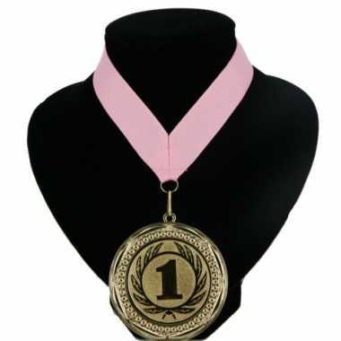 Fan medaille nr. 1 lint licht roze