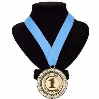 Fan medaille nr. 1 lint lichtblauw