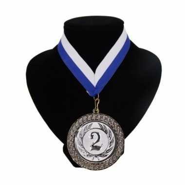 Fan medaille nr. 2 lint blauw en wit