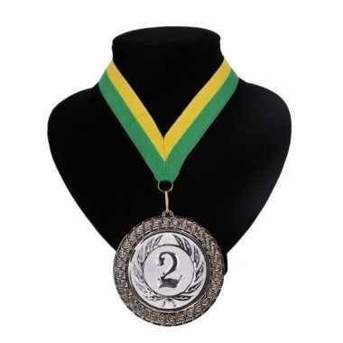 Fan medaille nr. 2 lint geel en groen