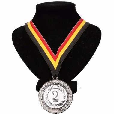Fan medaille nr. 2 lint geel/rood/zwart