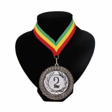 Fan medaille nr. 2 lint groen geel rood