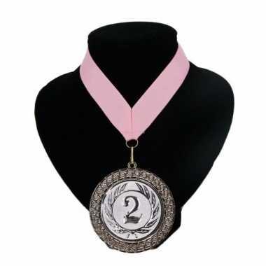 Fan medaille nr. 2 lint licht roze