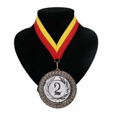 Fan medaille nr. 2 lint rood en geel
