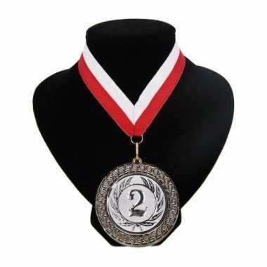 Fan medaille nr. 2 lint rood en wit