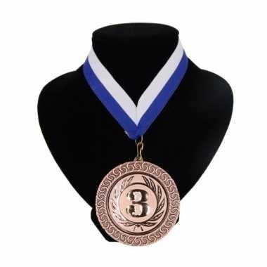 Fan medaille nr. 3 lint blauw en wit