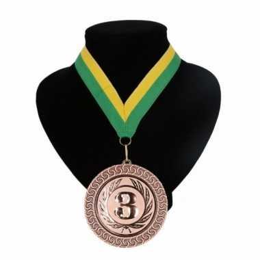 Fan medaille nr. 3 lint geel en groen