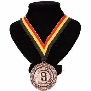 Fan medaille nr. 3 lint geel/rood/zwart