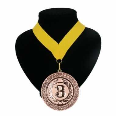 Fan medaille nr. 3 lint geel