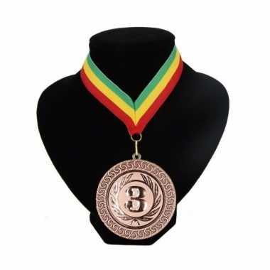 Fan medaille nr. 3 lint groen geel rood