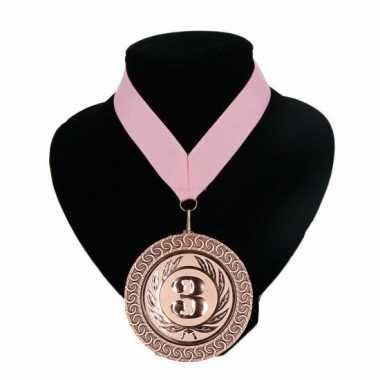 Fan medaille nr. 3 lint licht roze