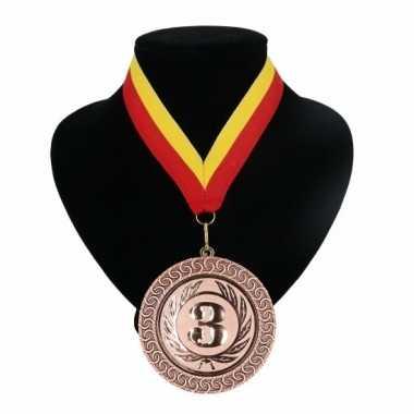Fan medaille nr. 3 lint rood en geel