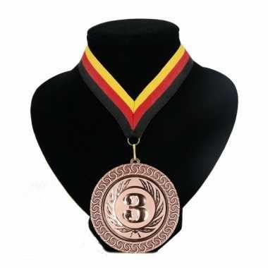 Fan medaille nr. 3 lint rood geel zwart