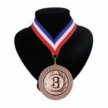 Fan medaille nr. 3 lint rood wit blauw
