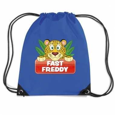 Fast freddy het luipaard rugtas / gymtas blauw voor kinderen