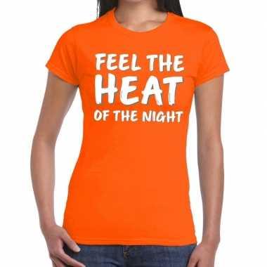 Feel the heat fun t-shirt oranje dames