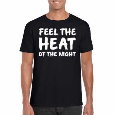 Feel the heat tekst t-shirt zwart heren