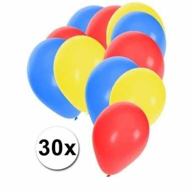 Feest ballonnen blauw-rood-geel