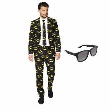 Feest batman print tuxedo/business suit 50 (l) voor heren met gratis