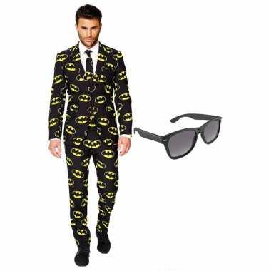 Feest batman tuxedo/business suit 56 (xxxl) voor heren met gratis zon