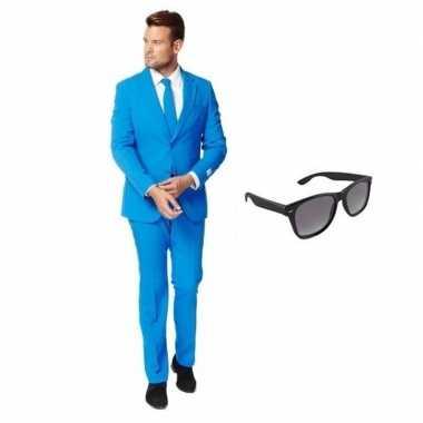 Feest blauw tuxedo/business suit 50 (l) voor heren met gratis zonnebr