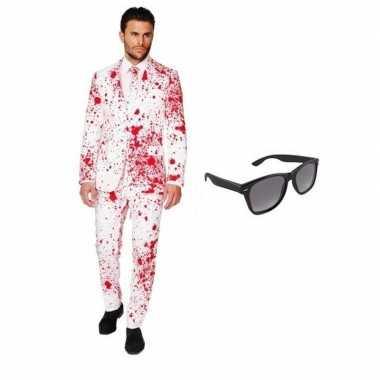 Feest bloed print tuxedo/business suit 52 (xl) voor heren met gratis