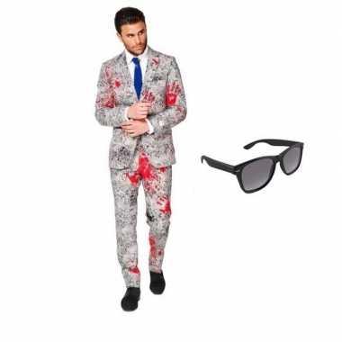 Feest bloedhanden print tuxedo/business suit 50 (l) voor heren met gr
