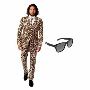 Feest bruin tuxedo/business suit 50 (l) voor heren met gratis zonnebr