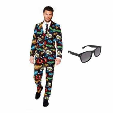 Feest comic print tuxedo/business suit 50 (l) voor heren met gratis z