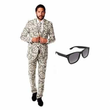 Feest dollar print tuxedo/business suit 52 (xl) voor heren met gratis