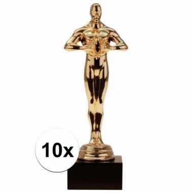 Feest gouden award beeldje 15 cm 10 x
