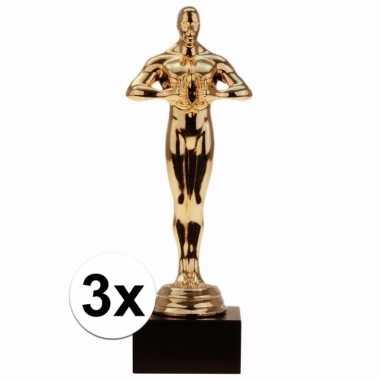 Feest gouden award beeldje 15 cm 3 stuks