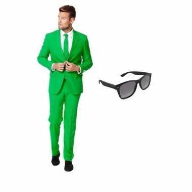Feest groen tuxedo/business suit 52 (xl) voor heren met gratis zonneb