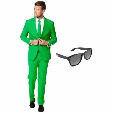 Feest groene tuxedo/business suit 54 (xxl) voor heren met gratis zonn