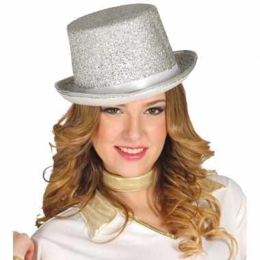 Feest hoge hoed zilver met glitters