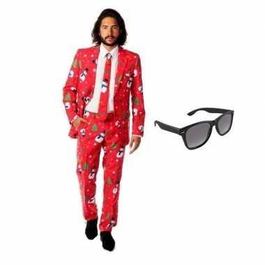 Feest kerst print tuxedo/business suit 52 (xl) voor heren met gratis