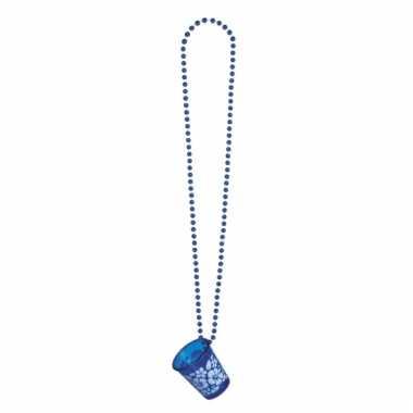 Feest ketting met shotglaasje blauw bloemen