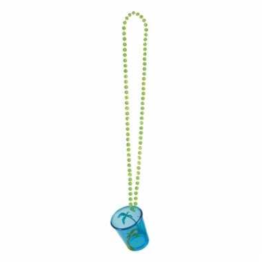 Feest ketting met shotglas blauw hawaii