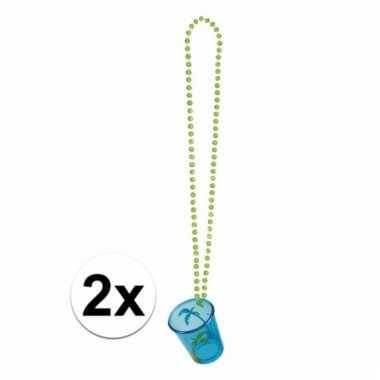 Feest kettingen met shotglas blauw hawaii 2x