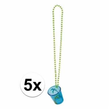 Feest kettingen met shotglas blauw hawaii 5x